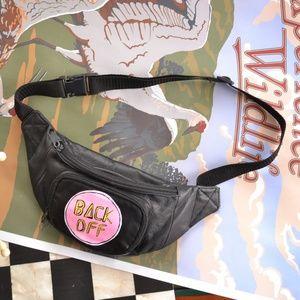 """Vintage """"BACK OFF"""" Leather Fanny Pack"""